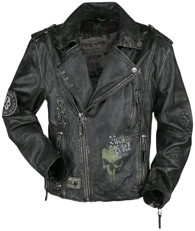 Tummanharmaa biker-tyylinen nahkatakki