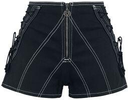 Mustat shortsit nyöreillä ja pitkällä vetoketjulla