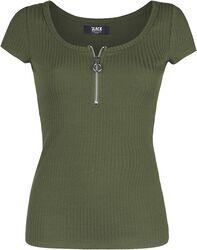 Vihreä kohojuovainen T-paita
