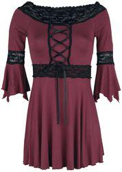 Viininpunainen pitkähihainen paita levenevillä hihoilla ja pitsikoristeilla