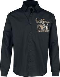 Musta pitkähihainen paita selkäpainatuksella