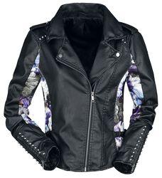 Floral Imitation Leather Jacket