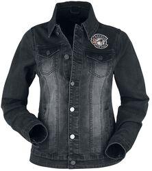 Schwarze Jeansjacke mit Waschung und Print