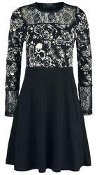 Musta pitkähihainen mekko pitsiosiolla ja painatuksella