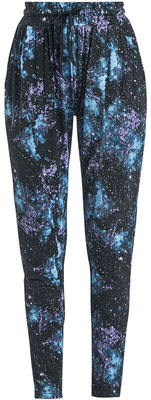 Rennot mustat housut galaksipainatuksella